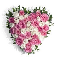 Roses Delivery in Bangalore Gokula. Deliver Heart Shape Arrangement of 50 Pink and White Flowers in Bangalore Gokula