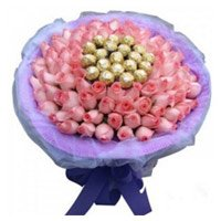 Send Online 50 Pink Roses 16 Pcs Ferrero Rocher Bouquet and Gifts in Bangalore on Friendship Day
