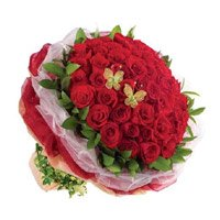Red Roses Bouquet 50 New Year Flowers to Bangalore