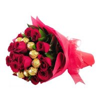 Online Gifts Delivery to Bangalore to send 16 pcs Ferrero Rocher 24 Red Roses Bouquet for Friendship Day