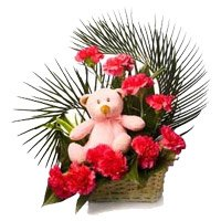 Send Red Carnation Small Teddy Basket 12 Flowers to Bangalore