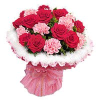 Send Flowers to Bengaluru Gokula including Red Roses and Pink Carnation Flowers in Bangalore Gokula