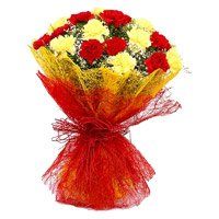 Diwali Flowers Delivery in Bangalore and deliver Red Yellow Carnation Bouquet 20 Flowers in Bangalore