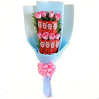 Friendship Day Gifts to Bangalore. Deliver 6 Red Roses 10 Pcs Ferrero Rocher Bouquet in Bangalore