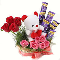Send Gift to Bangalore. 12 Red Roses 10 Ferrero Rocher Bouquet on Friendship Day