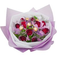 Friendship Day Gift Delivery in Bangalore. 12 Red Roses 5 Ferrero Rocher Bouquet