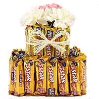 Gifts to Bangalore Midnight Delivery to Deliver 16 Pcs Ferrero Rocher 16 White Roses Bouquet for Friendship Day