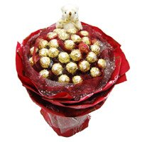 Send Gifts to Bengaluru. Send 24 Pcs Ferrero Rocher 6 Inch Teddy Bouquet on Friendship Day