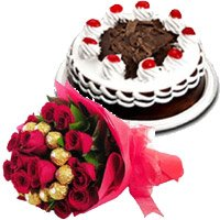 Send 16 pcs Ferrero Rocher 30 Red Roses Bouquet 1/2 Kg Black Forest Cake to Bangalore on Raksha Bandhan