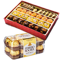 Send 1 Kg Assorted Mithai with 16 pcs Ferrero Rocher Chocolate to Bangalore