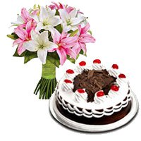 Gift Delivery In Bangalore 6 Pink White Lily Stem 1 2 Kg Black Forest