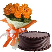 Send 10 Orange Roses 1/2 Kg Chocolate Cake to Bangalore Same Day