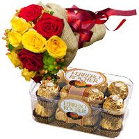 Bengaluru Gifts provides New Year Flowers anywhere in Bangalore consist of 12 Red Yellow Roses Bunch and 16 Pcs Ferrero Rocher chocolate