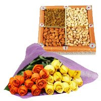 Buy New Year Flowers to Bengaluru along with 1/2 Kg Dry Fruits and 24 Orange Yellow Roses Bunch of roses to Bangalore