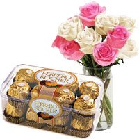 Send 10 Pink White Roses Vase 16 Pcs Ferrero Rocher Chocolate to Bangalore