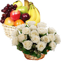 Deliver 18 White Roses 2 Kg Fresh Fruits Basket in Bangalore