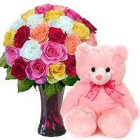 Deliver 24 Mix Roses Vase Flower Bangalore, 6 Inch Teddy Bear to Bangalore