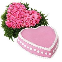 Order 36 Pink Roses Heart 1 Kg Eggless Strawberry Cake To Bangalore