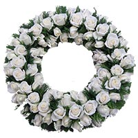 Send White Roses Wreath Flowers to Bangalore