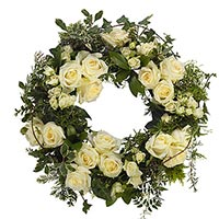 Online Flowers to Bangalore : White Roses Wreath to Bangalore : Condolence Flowers to Bangalore