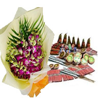 Diwali Gifts to Bangalore with 5 Orchids with Assorted Crackers worth Rs 2000