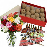 Diwali Gift Same Day Delivery in Bangalore. 500gm Atta Laddoos and 12 Mix Roses in Glass Vase with Assorted Crackers worth Rs 1800