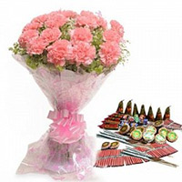 Crackers to Bangalore including 24 Pink Carnation Bouquet with Assorted Crackers worth Rs 1500