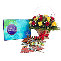 Send Diwali Gifts to Bangalore with Crackers 1 containing Celebration Pack and 18 Red Yeloow Mix Flowers Basket with Assorted Crackers worth Rs 1200