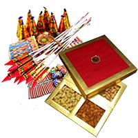 500gm Dry Fruits Box with Assorted Crackers worth Rs 1000. Diwali Gifts to Bangalore and Crackers.