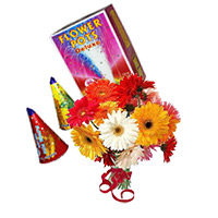 Diwali Gifts to Bangalore. 12 Mix Gerbera Bunch with 2 Box Flower Pot(Anaar)