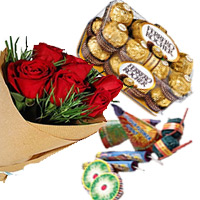 Diwali Gifts Delivery in Bangalore deliver to 16 Pcs Ferrero Rocher and 12 Red Roses Bunch with Assorted Crackers worth Rs 500