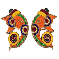 Same Day Diwali Gifts Delivery in Bangalore comprising Pair of Two Hanging Ganesha with 500 gm Kaju Roll.