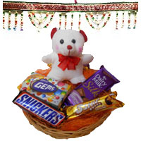 Deliver Diwali Gifts in Bengaluru with Door Hanging Bandhanwar 2 with 6 Inches Teddy with Chocolate Basket