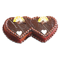 Online Cake Shop in Bangalore to send 2 Kg Double Heart Shape Chocolate Cake