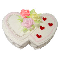 Send 2 Kg Double Heart Shape Pineapple Cake to Bangalore Online