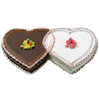 Shop for 3 Kg Double Heart Chocolate Vanilla 2-in-1 Cake in Bengaluru
