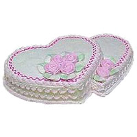 Send Online 2 Kg Double Heart Shape Cake to Bangalore