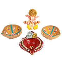 Same Day Delivery Diwali Gifts Bangalore involve 3 Big Handcrafted Diya with Ganesh in Marvel