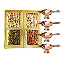 500 gm Mix Dry Fruits with 4 Brass Diya. Diwali Gifts to Bangalore