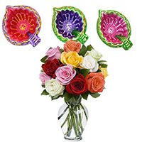 Diwali Gifts to Bangalore same day delivery Consisting 12 Mix Rose in Vase with 3 Handcrafted Diyas