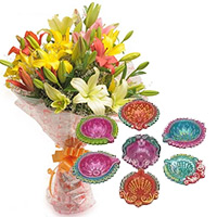 Express Delivery Diwali Gifts Bangalore add up to 6 Mix Lily Bouquet with 7 Handcrafted Diya