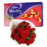 12 Red Roses Bunch and Cadbury Celebration Pack chocolate to Bangalore consist of New Year Flowers in Bengaluru.