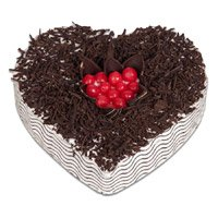 Valentine's Day Heart Cake Delivery in Bangalore - Black Forest Heart Cake