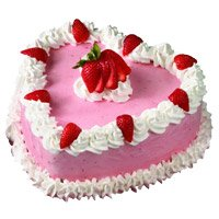 Best Midnight Cake Delivery in Bangalore for 1 Kg Heart Shape Strawberry Cake