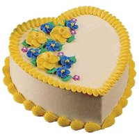 Online Cake Delivery to Bangalore to send 1 Kg Heart Shape Butter Scotch Cake