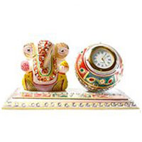 Same Day Mother's Day Gifts to Bangalore : Order for Ganesh and Clock in Marble in Bangalore