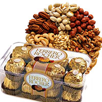 Send 500 gm Mixed Dry Fruits with 16 pcs Ferrero Rocher Chocolates to Bangalore
