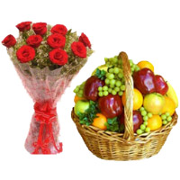 Get Diwali Gifts to Bangalore to Send 12 Red Roses Flower Bouquet Online Bangalore with 2 Kg Mix Fresh Fruits