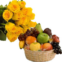 Cheap Diwali Gifts to Bengaluru Online Contsist of 12 Yellow Roses Bunch with 1 Kg Fresh Fruits Basket