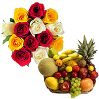 Order 12 Mix Roses Bunch with 2 Kg Fresh Fruits Basket. Send Diwali Gifts to Bangalore Online